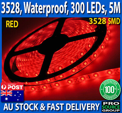 5M Bright RED 3528 SMD 300 LED Flexible Waterproof 12V Led Strip Lights Car Boat