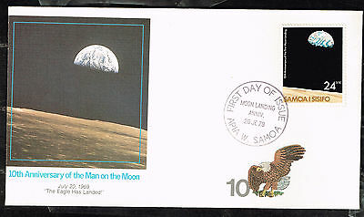 Samoa and Sisifo Islands Space US First Man on Moon Apollo 11 10 Ann 1979 FDC