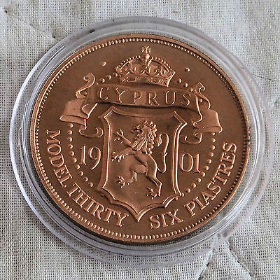 Cyprus 1901 Queen Victoria Copper Proof Pattern Model 36 Piastres