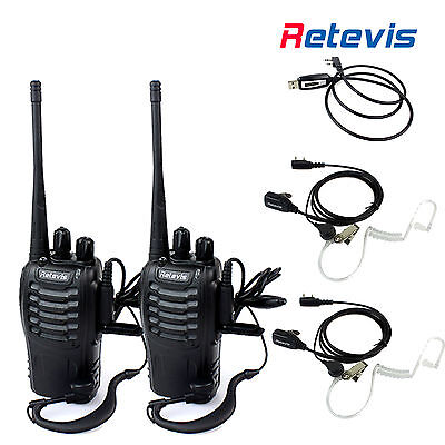 2pcs Retevis H777 Walkie Talkie UHF 400-470MHz 2-Way Radio 16CH+Cable+2xHeadsets