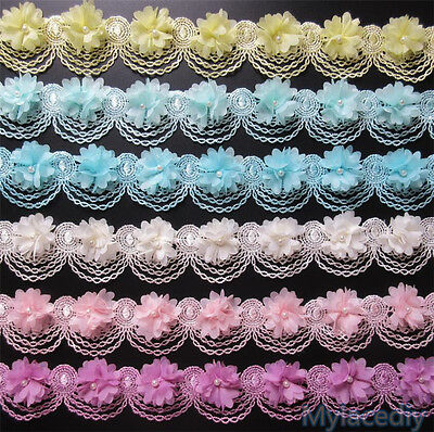 1 yd Vintage Pearl Lace Edge Trim Ribbon Wedding Embroidered Applique DIY Sewing