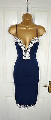 ~TYRA~ Navy Floral Lace Midi Pencil Bodycon Evening Party Dress 8 10 12 14 16