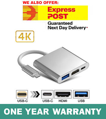USB 3.1 Type-C to 4k HD HDMI USB 3.0 HUB USB-C 3IN1 Charging Port Adapter Cable