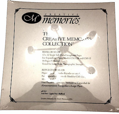CREATIVE MEMORIES 12X12 Refill RCM-12R Ruled Scrapbook Pages 10 Pages (5 Sheets)