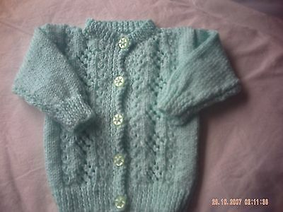 Hand Knitted Green Round Neck Baby Cardigan Size 0-3 Months.
