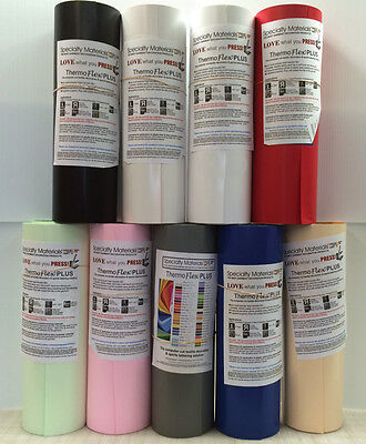 """Thermoflex Plus 15"""" by 5 Feet  12-Colors  Heat Transfer Vinyl Specialty Material"""