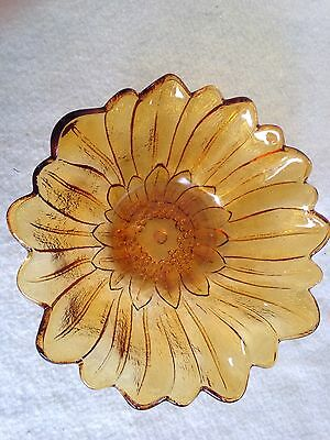 Vintage Amber Depression Glass Sunflower bowl by Indiana Glass