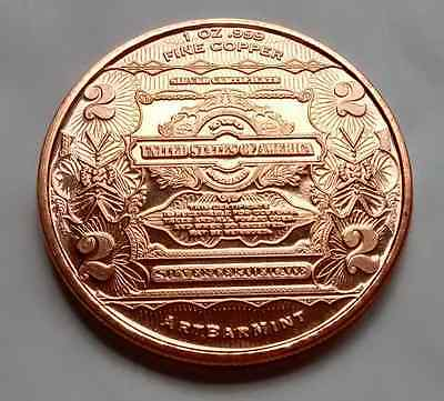 "1 oz .999 Copper Franklin ""2 Dollars"" Coin by Art Bar Mint"