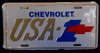 Chevrolet Usa-1 Gold & White With Red Bowtie Alum License Plate  Made Usa Chevy