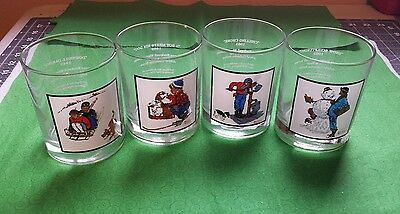 Norman Rockwell Winter Scenes Collector Glasses