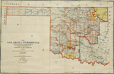 1903 Original General Land Office map, Territory Of Oklahoma, very detailed