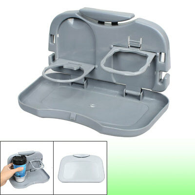 Auto Car Backseat Gray Plastic Drink Cup Holder Dinner Table Food Tray