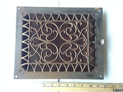 Victorian Fancy Louvered Cast Iron Wall Grate Vent Cover W/ Damper