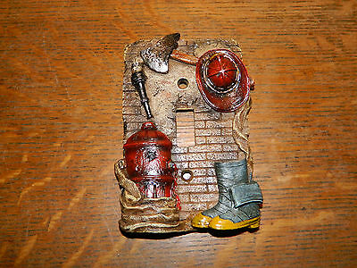 Fireman Fire Fighter Helmet, Axe boot Electric Light Switch Wall Plate Cover~New