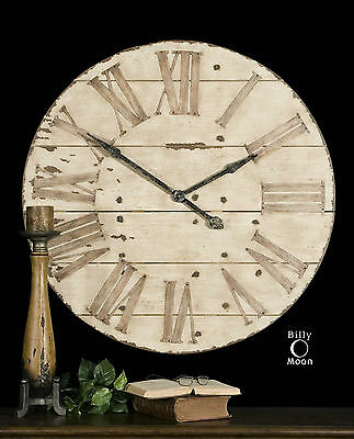 Rich Rustic Round Wood & Metal Wall Clock Large Roman Numbers Vintage Design