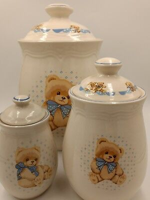 Tienshan Stoneware Teddy Bear Small Crock 4.75 inches tall