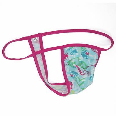 K403 CP String Thong Grape Smugglers Contoured Pouch Cotton Hearts Design