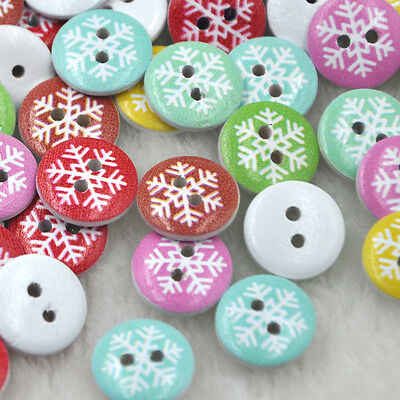10/50/100pcs print Snow Wood Button sewing/appliques/craft DIY Lots 15 mm WB226