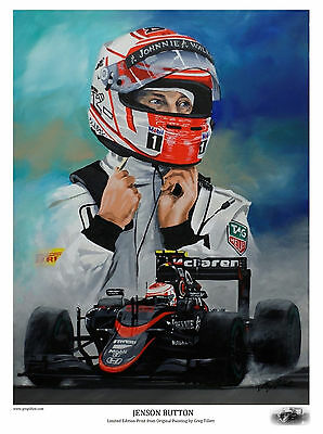 JENSON BUTTON Large A3 limited edition print by Greg Tillett. FORMULA 1