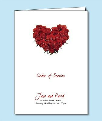 Personalised Wedding Order of Service Day Cover  Booklet Cream Petal Heart F016
