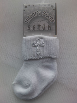 Baby Infant Christening WHITE poly cotton ankle socks with cross emblem