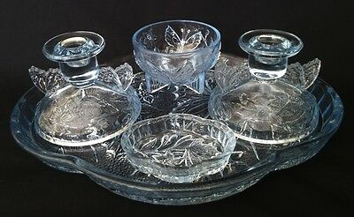 British Art Deco Sowerby Pressed Glass Butterfly Dressing Table Set