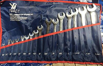 16Pcs Sae (Inch) Open And Ring Spanners Set  Combination Spanners Set Imperial