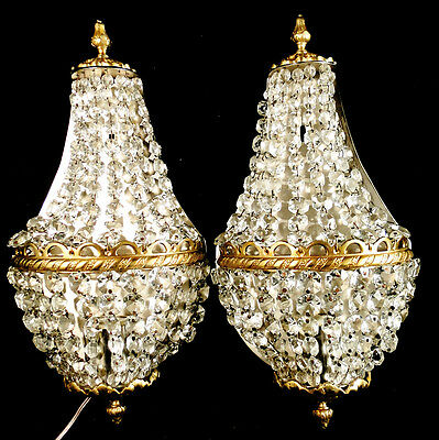 Antique French empire style bronze and crystal pair of sconces (196)