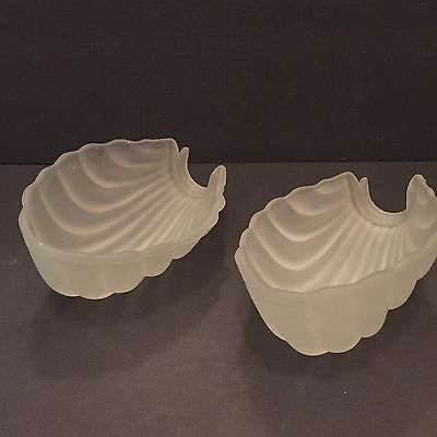2 VTG Art Deco Frosted/Opaque Shell-Shaped Wall Sconces Light Fixtures Bathroom