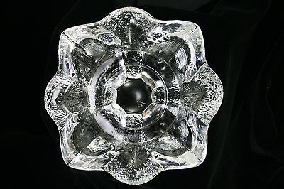 Mid Century Modern Orrefors Crystal Ashtray Candle Holder Textured Flower Patter