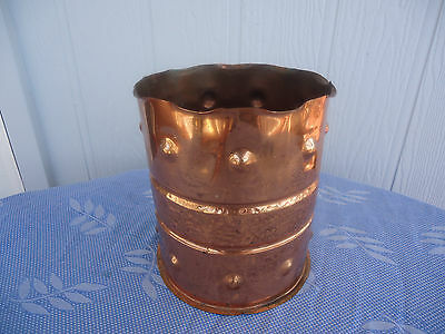 vintage antique arts and crafts solid beaten copper plant pot hand made