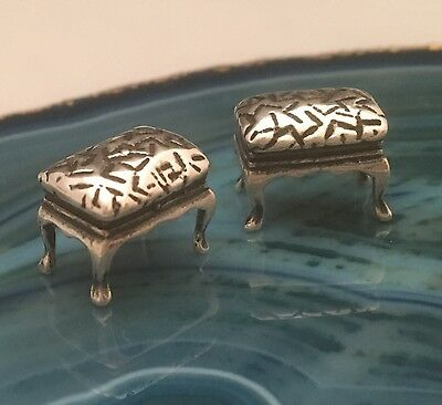 PAIR of Mini Sterling Silver 925 Miniature FOOTSTOOLS OTTOMAN Antique ITALY-L132