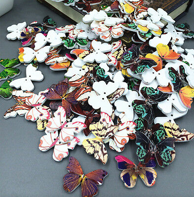 50pcs multicolor Butterfly Wood Buttons 2 Holes Fit Sewing Scrapbook 28MM
