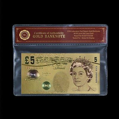 £5 Gold Banknote UK British Colorized Pounds  Gold Foil Plated Bill Banknote