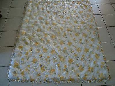 vintage yellow carnation bed quilt square