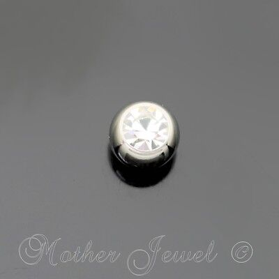 3mm Clear Crystal Surgical Steel Helix Septum Replacement Spare 14g Ball