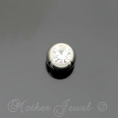 4mm Clear Crystal Surgical Steel Helix Septum Eyebrow Replacement Spare 16g Ball