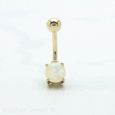 White Glitter Imitation Opal 14K Yellow Gold Ip S/s Belly Button Navel Ring