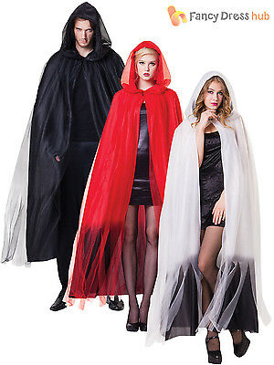 Deluxe Ladies Hooded Layered Long Cape Halloween Fancy Dress Ghost Witch Cloak