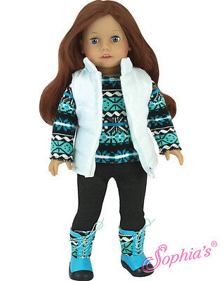 """Doll Clothes AG 18"""" Pants Top Vest Boots Teal Sophias Fits American Girl Dolls"""