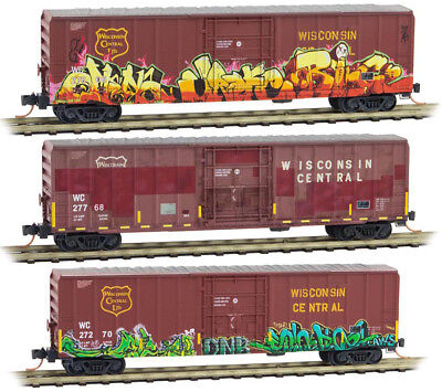 Micro-Trains MTL N-Scale 50ft Box Cars Wisconsin Central Weathered/Graffiti 3-Pk