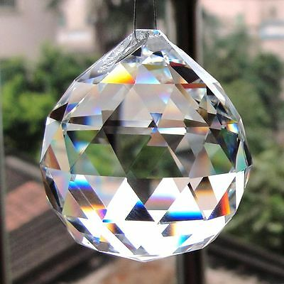 "FENG SHUI HANGING CRYSTAL BALL 1.6"" 40mm Sphere Prism Rainbow Sun Catcher Clear"