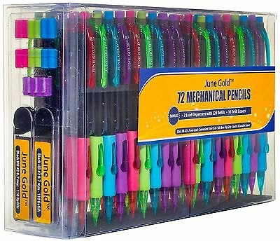 June Gold 72 Mechanical Pencils, 0.7 mm HB #2, 220 Lead Refills & 16 Erasers