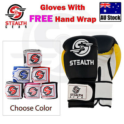 BOXING GLOVES Muay Thai Training Sparring Punching mitts Kickboxing hand wraps