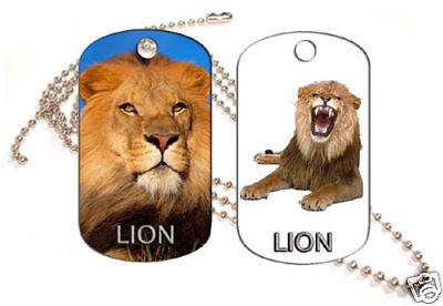 Lion Aluminum Dog Tag Double Sided With Chain