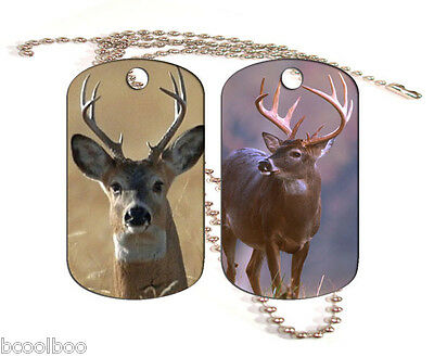 Deer Aluminum Dog Tag Double Sided With Chain