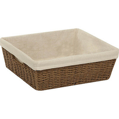 Honey-Can-Do Parchment Cord Basket with Liner 2 Colors Travel Health & Beauty