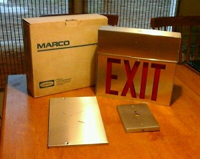 NEW Marco Hubbell Lighting Incandescent Universal 2 Side Exit Sign Complete Unit