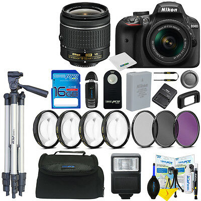 Nikon D3400 Digital SLR Camera + AF-P 18-55mm f/3.5-5.6G VR Lens + Basic Bundle