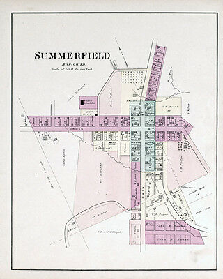 1876 Map of Summerfield Noble County Ohio